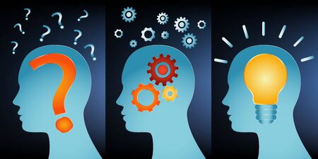 Human head problem analysis solution concept. Head series with problem solving symbols. Problem - thought - inspiration - idea and success. Blue background Illustration