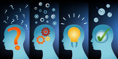 Problem thinking inspiration idea and success. Human head problem analysis solution concept. Head series with problem solving symbols. Blue background
