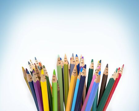 Colored pencils funny faces of people smiling. Dialogue group of people. Crowd Talking. Group of people talking. Social network communication. Different People and different cultures. isolated Stock Photo