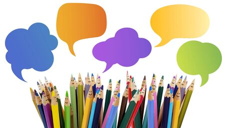 Colored pencils funny faces of people smiling. Dialogue group of people. Crowd Talking. Group of people talking. Social network communication. Speech bubble.Diverse People and different culture Stock Photo