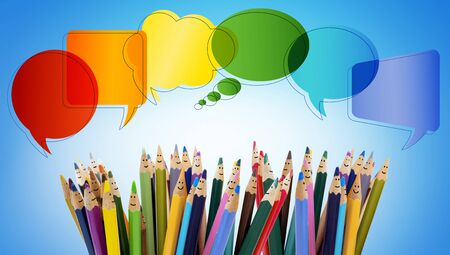 Connect and share social networks. Speech bubble. Colored pencils funny faces of people smiling. Dialogue and communication group of people. Crowd Talking. Different People and different cultures Stock Photo