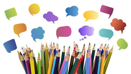 Social network communication. Colored pencils funny faces of people smiling. Dialogue group of people. Crowd Talking. Group of people talking. Different People and different cultures. isolated Stock Photo