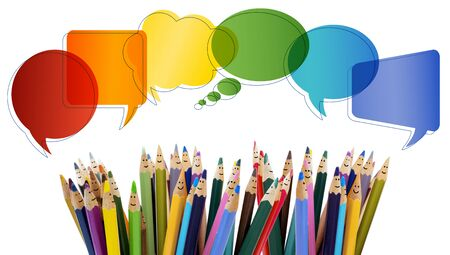 Social network communication. Colored pencils funny faces of people smiling. Talking. Group of people talking. Dialogue group of people. Crowd. Different People and different cultures. isolated