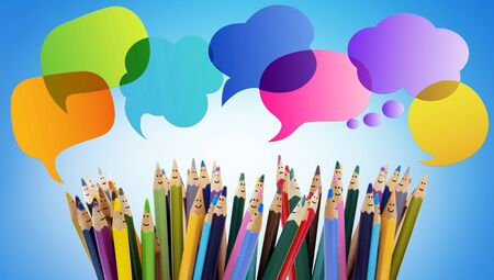 Speech bubble. Colored pencils funny faces of people smiling. Dialogue group of people. Crowd Talking. Group of people talking. Social network communication. Different People and different cultures