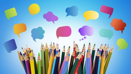 Speech bubble. Crowd Talking. Colored pencils funny faces of people smiling. Dialogue group of people. Group of people talking. Social network communication. Different People and different cultures Imagens