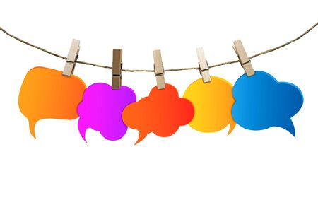 Title Isolated speech bubble various colors. Gossip. Social network. Chatter speaking and communication. Information. Group of empty balloons. Clouds hanging from a rope with clothespins Stock Photo