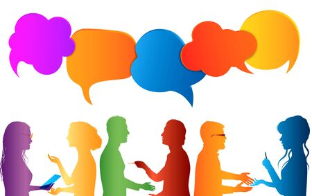 Communication group of people. Speech bubble. Colored clouds. Talk in social media. Dialogue between different people. Information communicate and networking. Gossip. isolated