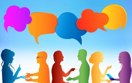 Speech bubble. Communication group of people. Colored clouds. Talk in social media. Dialogue between different people. Information communicate and networking. Gossip