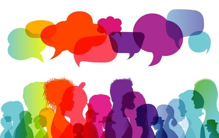 Speech bubble. Dialogue group of people. Communication between people. Crowd talking. Silhouette profiles. Rainbow colors Stock Illustratie