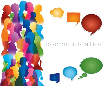 Social networking. Different people. Large isolated group people in profile talking silhouette. Speech bubble. Crowd speaks. Concept to communicate. Multi-ethnic people dialogue. Clouds. Talk
