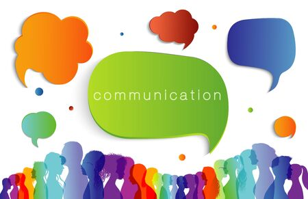 Large group of people in profile talking silhouette rainbow colors. Speech bubble. Concept to communicate. Crowd speaks. Social networking. Multi-ethnic people dialogue. Clouds. Talk