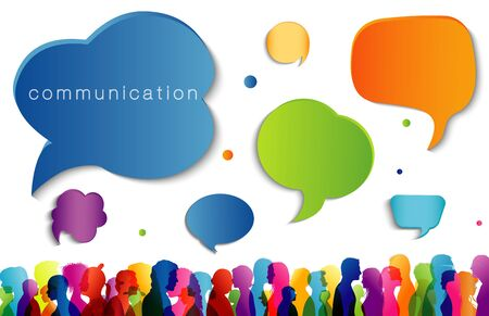 Large isolated group people in profile talking silhouette. Speech bubble. Concept to communicate. Crowd speaks. Social networking. Multi-ethnic people dialogue. Clouds rainbow colors. Talk Illustration