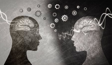 Seminario de neurociencia o neurología. Terapia de grupo. 2 cabezas humanas en perfil de silueta con cerebro y engranajes. Asistencia y terapia neurológica. Mejora la inteligencia y la memoria. entrenador