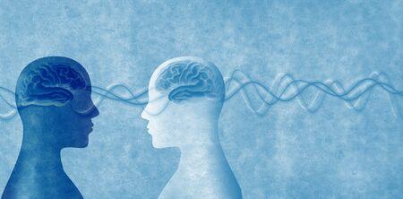 Ausbildung von Menschen. Entwicklung der Neurowissenschaften. Intelligenz - Kognition und Bildung. 2 menschliche Köpfe im Silhouettenprofil. Gedächtniskonzept - Neurologie und Psychologielogy Standard-Bild