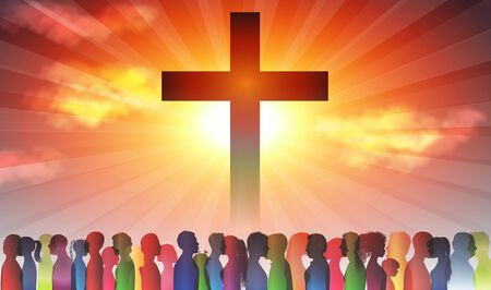 Christian church with group of people. Silhouette Christian people at the cross. Crowd of believing people. Finding Christianity. Group of families. Dark background