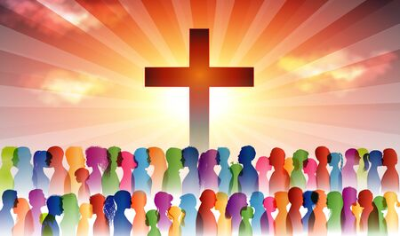 People finding Christianity. Crowd of believing people. People at the cross. Believers who pray. Group of people. Christian Church. Christian worship. Group of families. Dark background Stock fotó