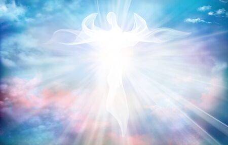 Archangel. Heavenly angelic spirit with wings. Illustration abstract white angel. Belief. Afterlife. Spiritual Angel. Blessing. Sky clouds with bright light rays Stock Photo