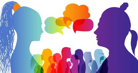 Dialogue group of different people. Communication between people. Crowd talking. Silhouette profiles. Rainbow colors. Speech bubble.Dialogue different cultures. Interview Ilustração