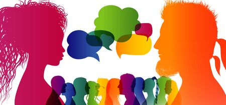 Speech bubble. Crowd talking. Dialogue group of different people. Communication between people. Silhouette profiles. Rainbow colours.Dialogue different cultures. Interview