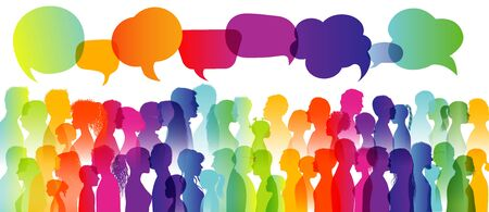 Speech bubble. Dialogue large group of different people. Communication between people. Crowd talking. Silhouette profiles. Rainbow colors. Interview