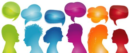 Group of different people silhouette talking profile. Speech bubble. Social network. Talk in the community. Concept communication. Inform. Friends chatting. Networking. Rainbow colors Banco de Imagens