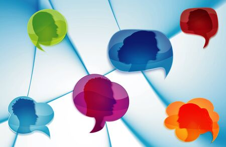 Network information. Talk in social networks or community. Speech bubble. Communicate group of different people. Communication silhouette profile. Talking. Speak. Heads of people. Gossip. Informing