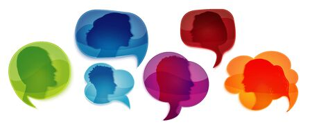 Speech bubble. Communicate group of different people. Talk in social networks or community. Network information. Communication silhouette profile. Talking. Speak. Heads of people