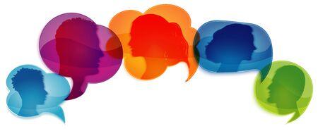 Talk in social networks or community. Speech bubble. Communicate group of different people. Network information. Communication silhouette profile. Talking. Speak. Heads of people. Gossip Stok Fotoğraf