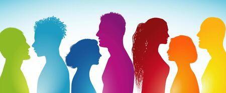 Group of multi-ethnic people. Social network. Concept communication. Teamwork. Silhouette men and women heads in profile. Communicate. Public. Different people. Rainbow colors