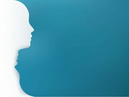 Metaphor bipolar disorder mind mental. Double face. Split personality. Mood disorder. Dual personality concept. Head silhouette on blue background Stock Photo