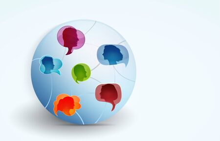 Networking. Global communication between a group of connected multi-ethnic colored people. Social network and information. Speech bubble. People talking. To communicate. To speak. Globe