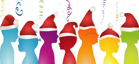 Happy children celebrating at a Christmas party. Group of isolated diverse multicultural isolated celebrating Christmas or New Year. Community of multi-ethnic rainbow colors children