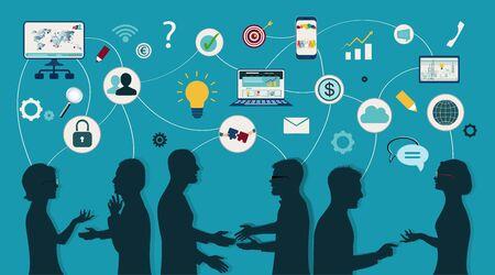 Compartiendo ideas y tecnología para el futuro. Conexión e intercambio de ideas: datos o preguntas. Comunicación y red entre personas. Cargue y descargue datos. Mapa mental. Trabajo en equipo en red Foto de archivo