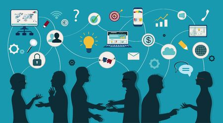 Sharing ideas and technology for the future. Connection and exchange of ideas - data or questions. Communication and network between people. Upload and download data. Mind Map. Network teamwork Banco de Imagens