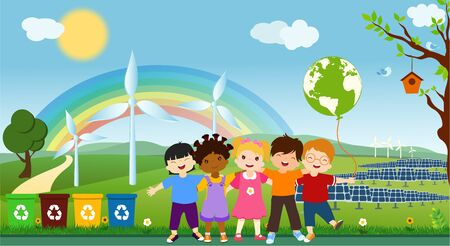 Multi-ethnic children of different cultures who embrace for a global eco-friendly world. Oneness for clean and sustainable energy. Together to save the planet. Ecological world. Ecology and environmen Ilustracja