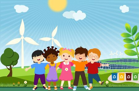 Multi-ethnic children of different cultures who embrace for a global eco-friendly world. Together to save the planet. Unit for clean and sustainable energy. Ecological world. Ecology and environment