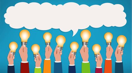 Sharing ideas. Hands with light bulbs. Communication and discussion community social network. People who communicate online via the web. Connection between groups of people or friends. Speech bubble 版權商用圖片 - 134415150