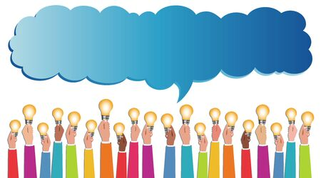 Sharing ideas. Hands with light bulbs. Multiethnic people who communicate online via the web. Communication and discussion community social network. Connection diversity groups of people or friends 版權商用圖片 - 134415153