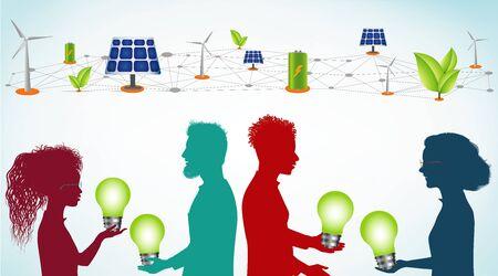 Energy sharing. Energy community. Prosumer sustainable and renewable energy. Alternative energy production. Smart grid. Economic sharing of self-produced energy. Green social media. Light bulb 版權商用圖片 - 138509433
