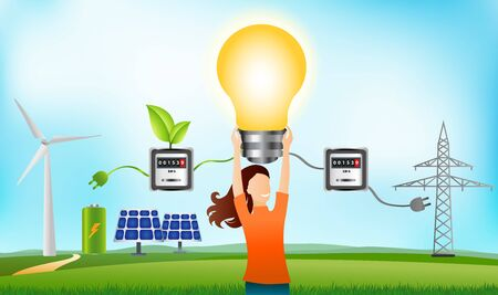 Prosumer. Renewable energy. Self-produced energy sharing. Ecological house. Photovoltaics. Woman holding a light bulb in hand. Investments for sustainable energy. Alternative energy production