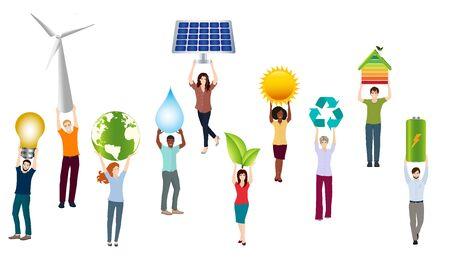 Energy community. Isolated group of people. Prosumer sustainable and renewable energy. Economic sharing of self-produced energy. Alternative energy production. Green social media 向量圖像