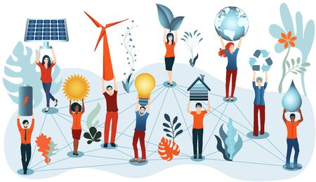 Energy community. Prosumer sustainable and renewable energy. Economic sharing of self-produced energy. Ecological industry or home. Alternative energy production. Green social media 向量圖像