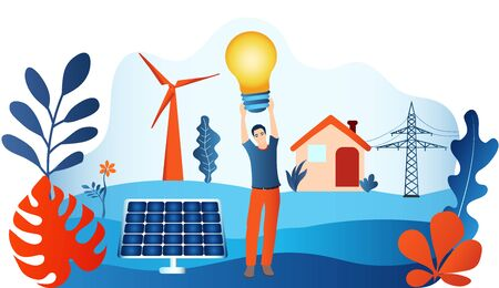 Prosumer. Renewable energy. Self-produced energy sharing. Ecological house. Photovoltaics. Man holding a light bulb in hand. Investments for sustainable energy. Alternative energy production
