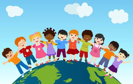 Earth globe with group of multiethnic and diverse children standing together and embracing each other. Community. Multicultural kindergarten.Diversity and culture. Unity and friendship Ilustração