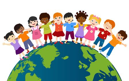 Earth globe with group of multiethnic and diverse children standing together and embracing each other. Diversity and culture. Unity and friendship. Community. Multicultural kindergarten