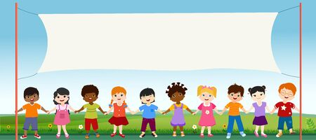 Group of multiethnic diverse children holding hands. Diversity and culture. Unity and friendship. Community of children with different nationalities. Multicultural kindergarten. Copy space