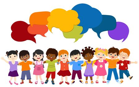 Isolated group of multiethnic diverse children embracing each other. Communication and connection of children of different nationalities - culture and ethnicity. Childhood. Colorful speech bubble Ilustração