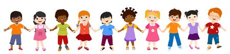 Isolated group of multiethnic diverse children holding hands. Diversity and culture. Unity and friendship. Community of children with different nationalities. Multicultural kindergarten. Childhood 向量圖像