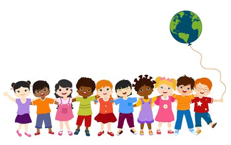 Communication isolated group of diverse multiethnic children standing together and holding each other. Diversity and culture. Oneness and friendship. Community. Multicultural Kindergarten. Childhood