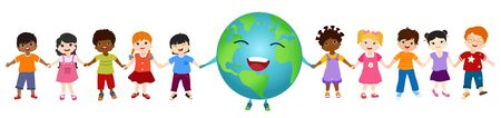 Isolated group of diverse and multiethnic cultures children and globe holding hands together for an eco planet and clean environment. Ecological and sustainable future. Energy community